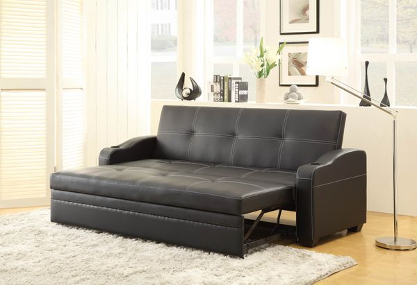 HE-4838 Marcelo collection black leather like vinyl upholstered folding futon sofa bed with built in cup holders pull out sleep area