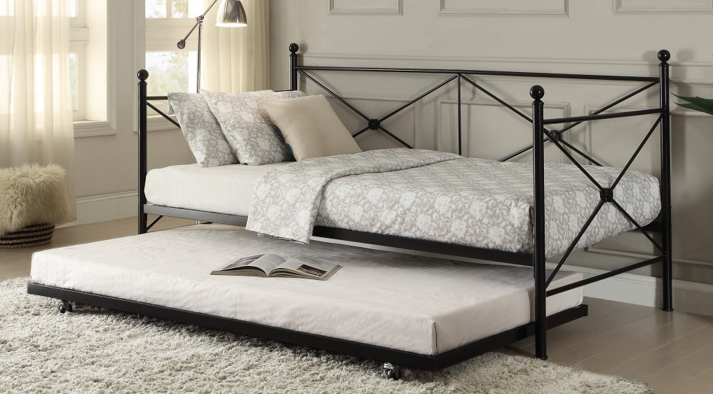 4964BK-NT 2 pc Jones black finish metal twin day bed with pull out trundle