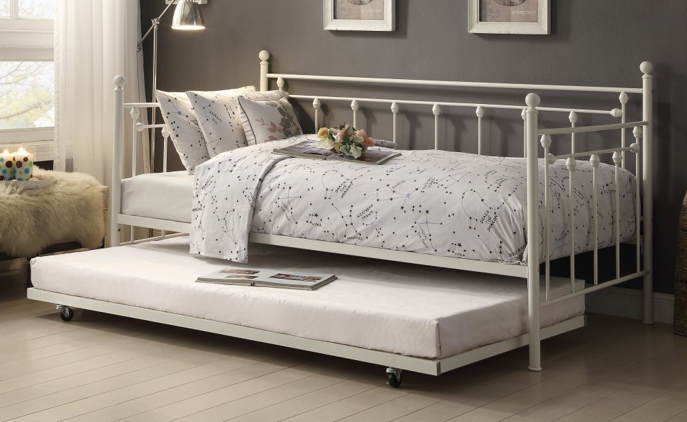 4965W-NT 2 pc Lorena white finish metal twin day bed with pull out trundle