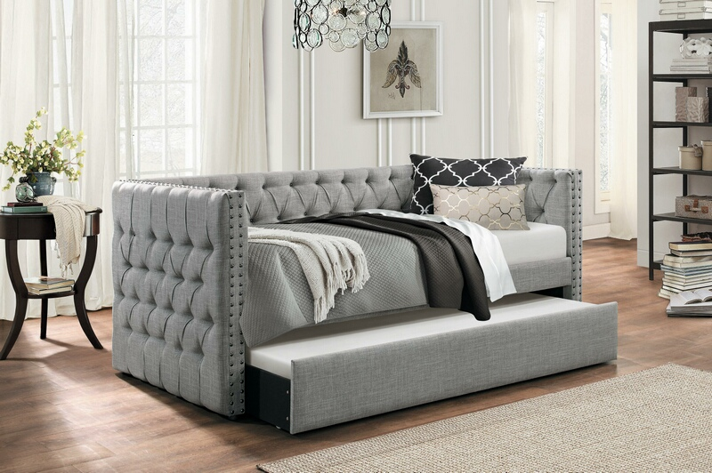 4971GY Tristan grey fabric nail head trim twin day bed with trundle