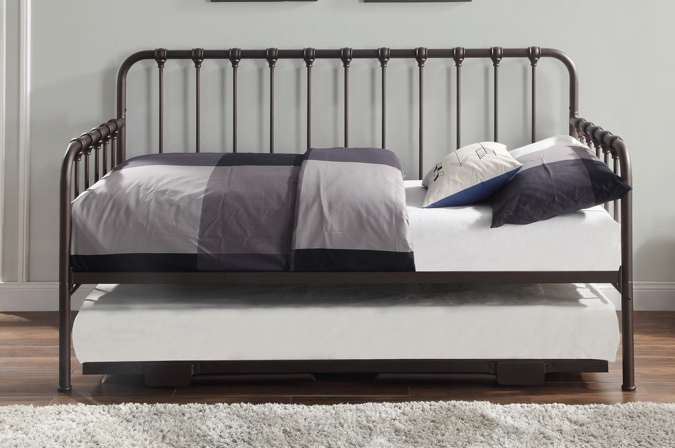 4983DZ-NT 2 pc Constance dark bronze finish metal twin day bed with lift up trundle