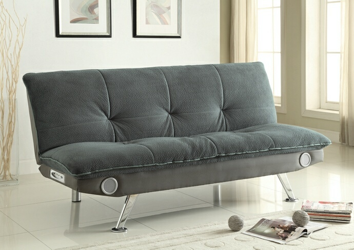 CST500046 Millie collection grey padded textured velvet folding futon sofa bed with blue tooth speaker system built in
