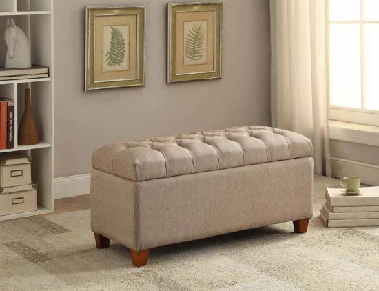 CST500064 Melissa collection taupe faux linen fabric upholstered tufted top storage bedroom ottoman bench