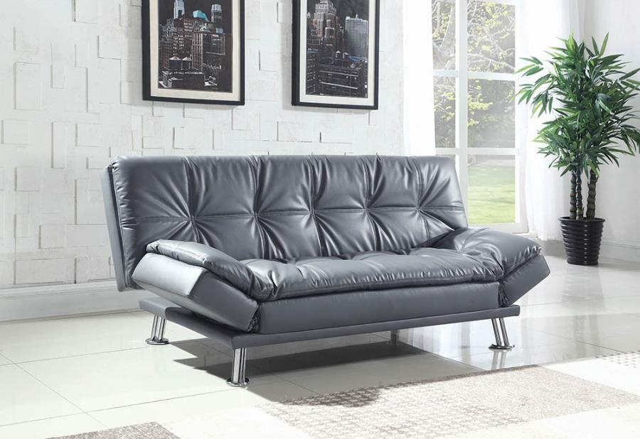 500096 Dilleston gray faux leather tufted accents folding futon sofa bed