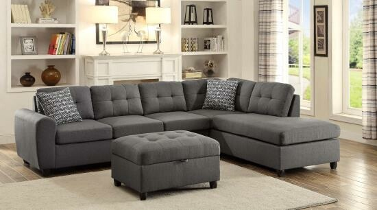 CST500413 2 pc stonenesse collection steel grey linen like fabric upholstered reversible sectional sofa set