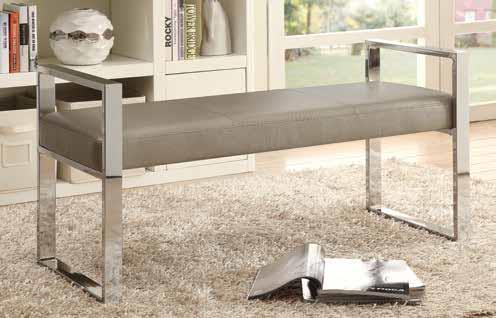 500434 Orren ellis jalen champagne reptile faux leather ottoman bench with chrome frame