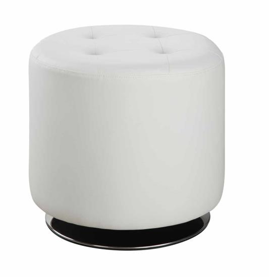 500554 Orren ellis hunnicutt white faux leather round tufted seat ottoman swivel footstool