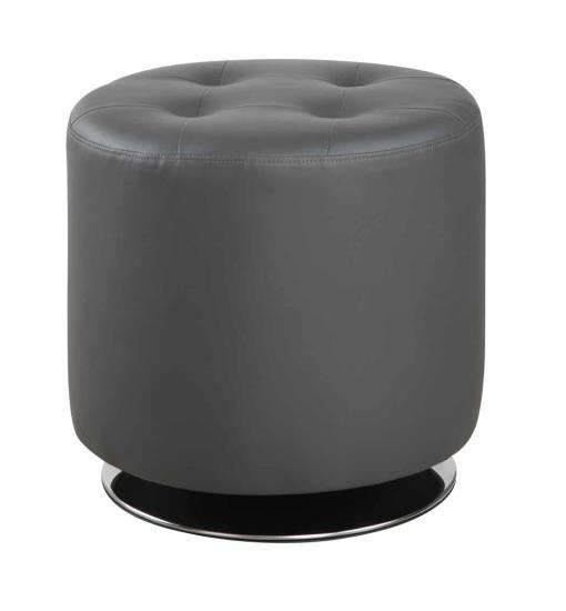 500555 Wade logan enzo grey faux leather round tufted seat ottoman swivel footstool