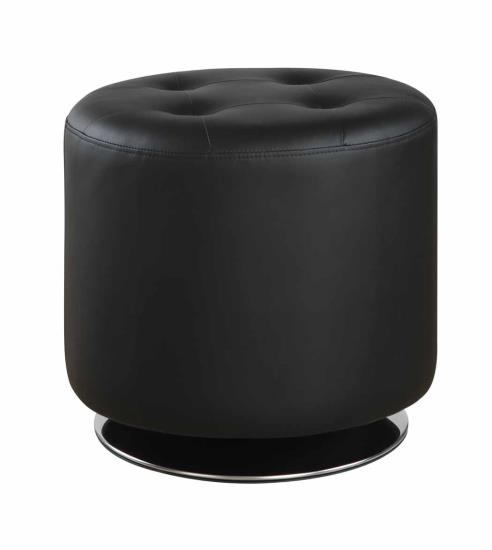 CST500556 Priscilla collection black faux leather upholstered round tufted seat ottoman swivel footstool