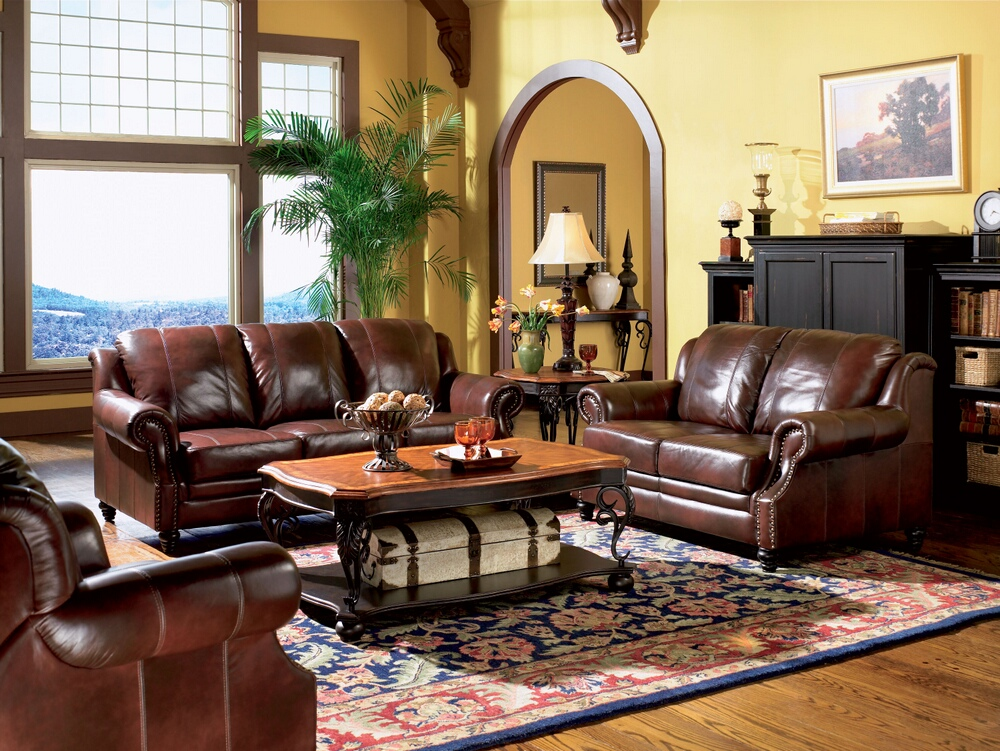 CST500661-62 2 pc princeton collection 100% tri-tone burgundy leather upholstered sofa and love seat set with nail head trim