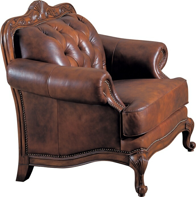 CST500683 Victoria collection 100% tri-tone warm brown leather upholstered chair with nail head trim