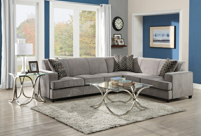 CST500727 2 pc Tess collection transitional style grey microvelvet fabric upholstered sectional sofa with pull out bed