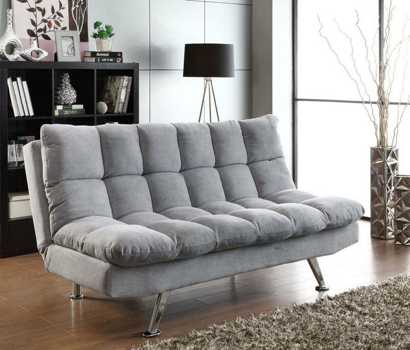 500775 Wildon home light grey teddy bear fabric folding sofa / futon bed with tufted accents