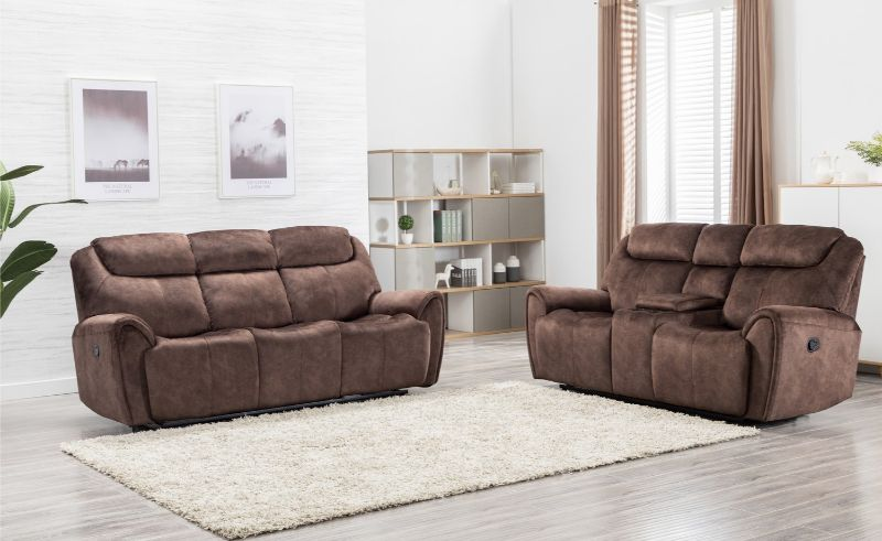 GU-5008BR-2PC 2 pc Reston brown fabric sofa and love seat with recliner ends