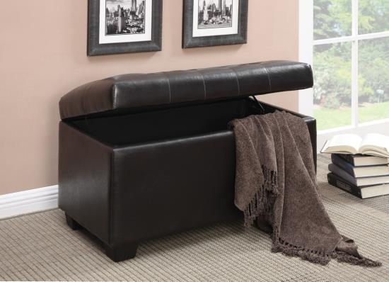 CST500948 Dark brown leather like vinyl upholstered tufted top storage bedroom ottoman bench