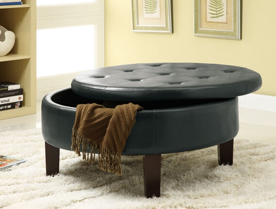 "501010 Rich dark brown leather like vinyl button tufted top storage ottoman footstool.  Ottoman Measures 36"" x 36"" x 18"" H."