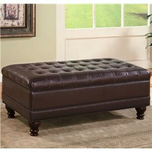 CST501041 Dark brown durable leather like vinyl storage ottoman with tufted seat and wood legs