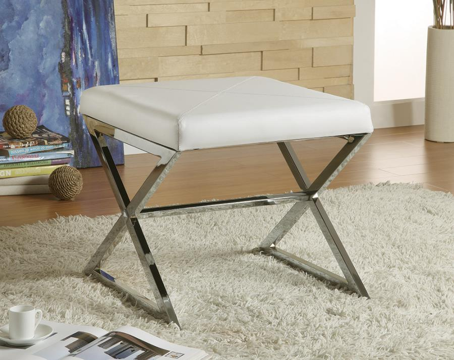 501063 Mercer 41 helotes white leather like vinyl ottoman with chrome metal frame