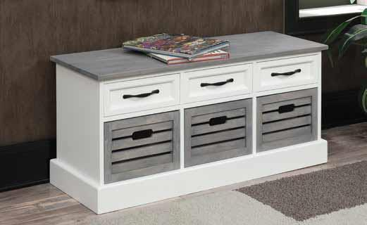 501196 Orren elllis hawksbill weathered grey and white finish wood ottoman boot bench with drawers