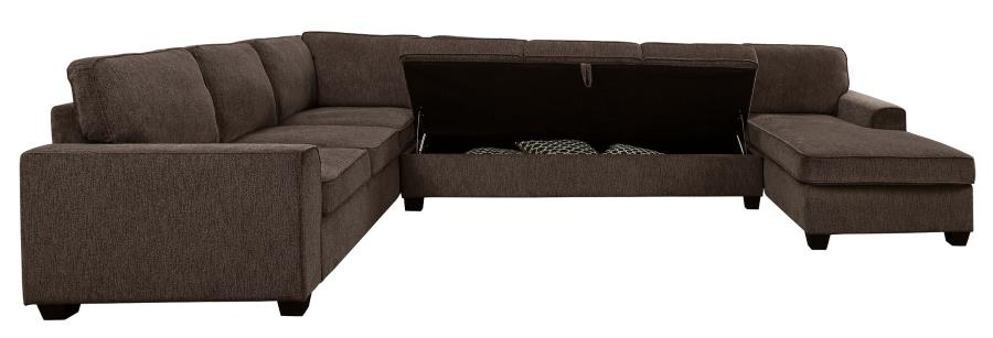 501686 3 pc Wrought studio robison provence brown chenille fabric sectional sofa with storage