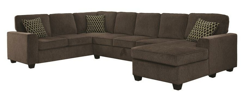 501686 3 pc Quentin provence brown chenille fabric sectional sofa with  storage