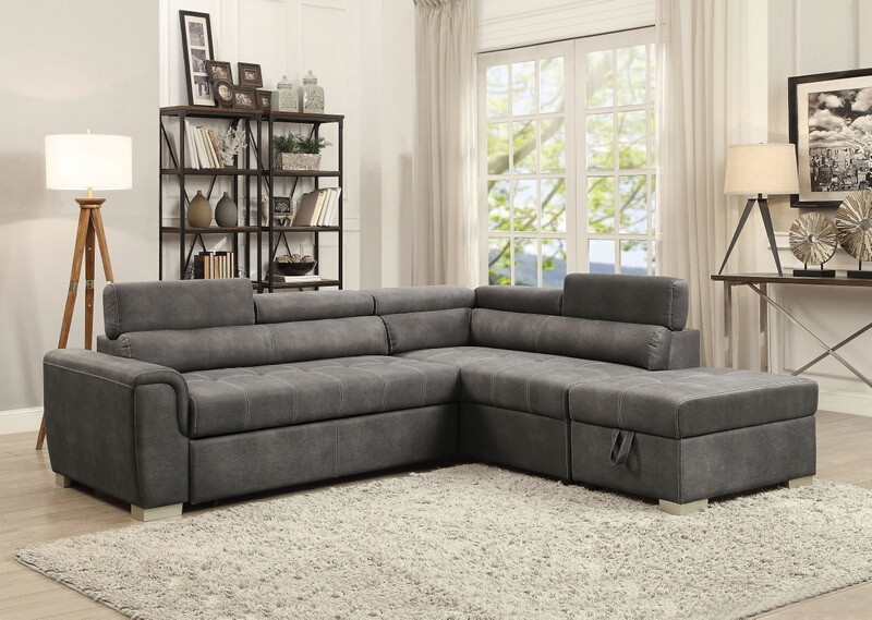 Acme 50275 3 pc Thelma grey polished microfiber sectional sofa set with pull out sleep area