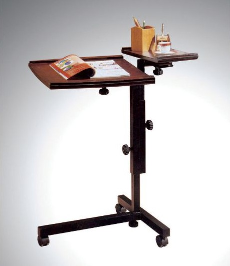 Asia Direct 503-ESP Espresso finish wood laptop caddy adjustable stand with casters