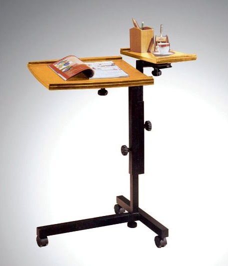 Asia Direct 503-OAK Oak finish wood laptop caddy adjustable stand with casters