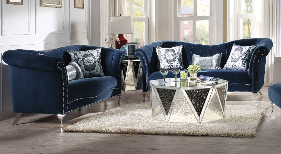 Acme 50345-46 2 pc Everly quinn sienna jaborosa blue velvet fabric tufted back sofa and love seat set