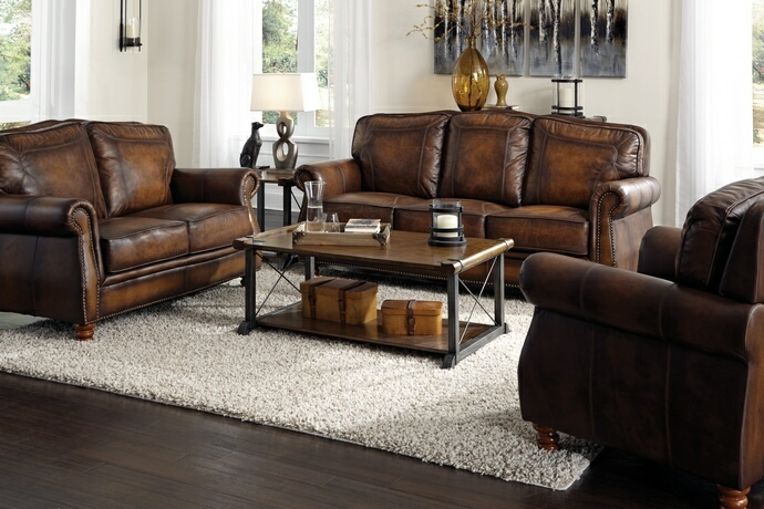 503981-82 2 pc Darby home co linglestown hand rubbed brown finish 100% leather sofa and love seat set