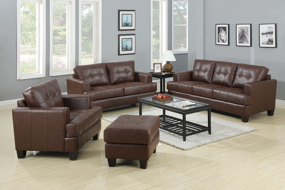 CST504071-72 2 pc Samuel dark brown bonded leather upholstered sofa and love seat set with tufted seat and back