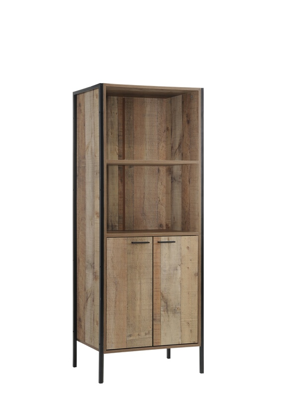5049 Natural rustic reclaimed finish wood wide TV stand side tower book shelf with metal accents