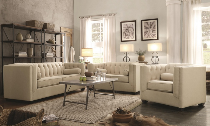 CST504904-05 2 pc Cairns collection transitional style oatmeal easy care linen bland fabric upholstered sofa and love seat with tufted back and sides