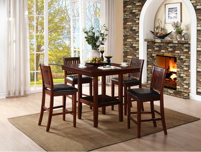 HE-5050-36 5 pc galena collection warm cherry finish wood counter height dining table set with upholstered seats