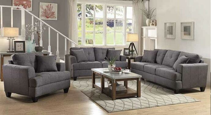 CST505175-76 2 pc Samuel collection charcoal linen like fabric upholstered sofa and love seat set with tufted seats and back