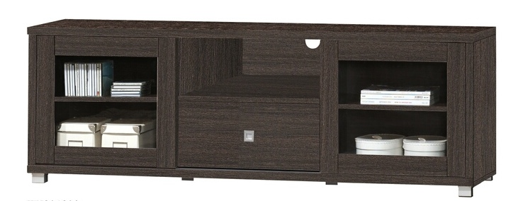 5052-ESP Espresso finish wood wide TV stand with glass cabinet doors