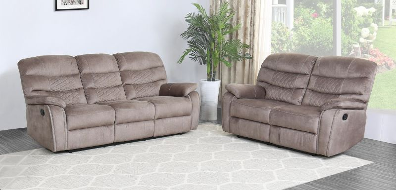 GU-5052LB-2PC 2 pc Reston light brown fabric sofa and love seat with recliner ends
