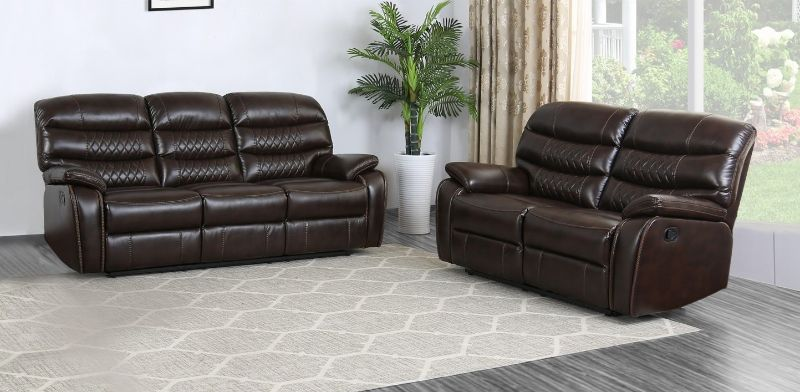GU-5052DB-2PC 2 pc Reston dark brown leather aire sofa and love seat with recliner ends