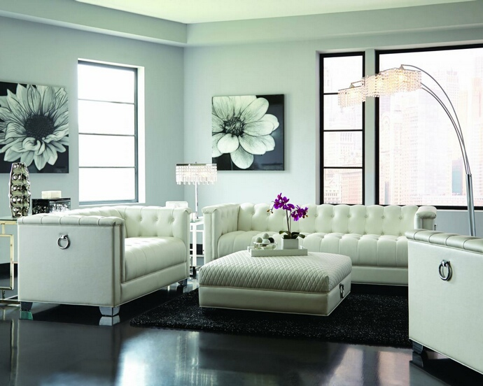 505391-92 2 pc House of Hampton krishner chaviano white breathable leatherette button tufted back sofa and love seat set