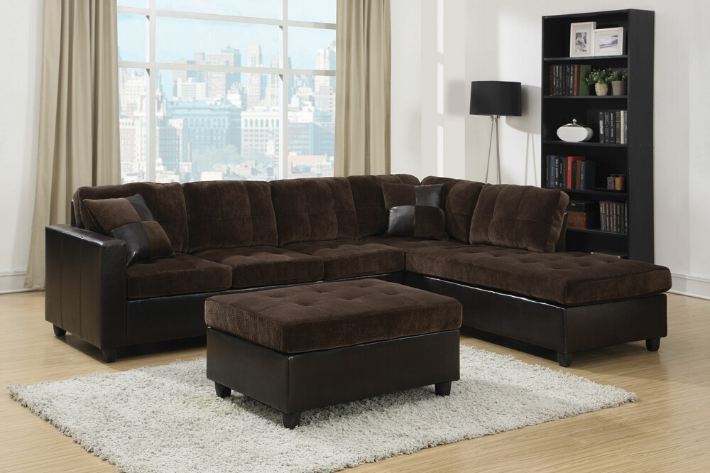 CST505645 2 pc mallory collection 2 tone chocolate padded textured fabric and leather like vinyl upholstered sectional sofa with reversible chaise