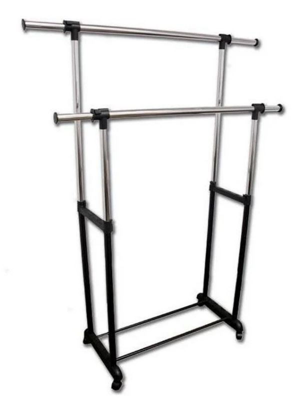 Asia Direct 506BK Double portable check coat hanger rack with casters and extensions