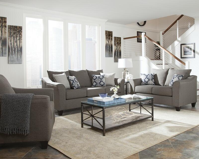 506021 2 pc Red barrel studio mccullough sallazar grey linen like fabric sofa and love seat set
