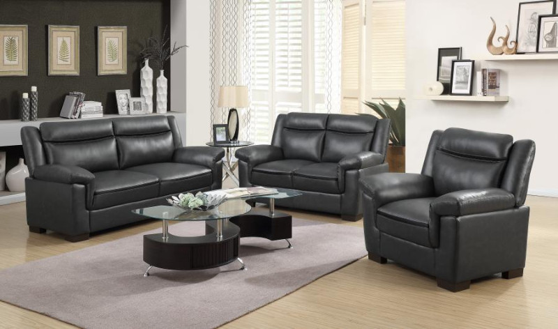 506591-92 2 pc Arabella gray faux leather sofa and love seat set with overstuffed arms