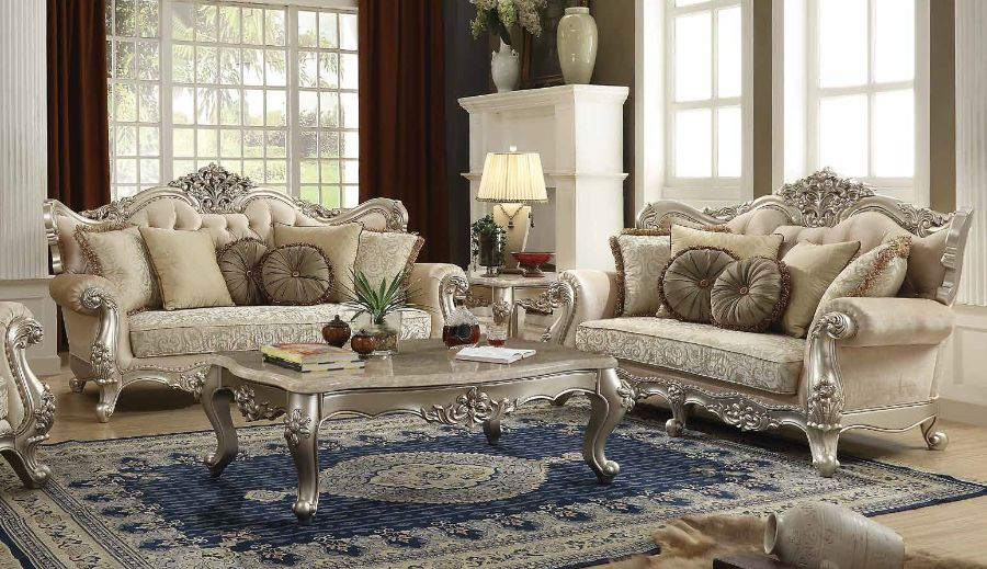 Acme 50660-61 2 pc Astoria grand desmond bently champagne finish wood fabric sofa and love seat set