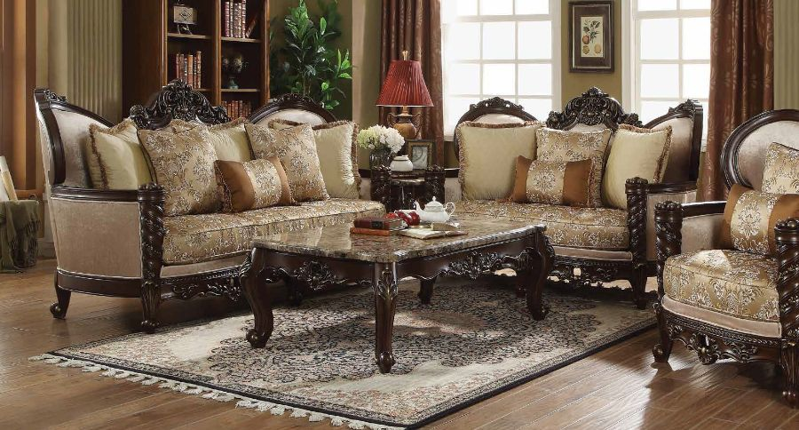 Acme 50685-86 2 pc Astoria grand frederick devayne walnut finish wood fabric sofa and love seat set