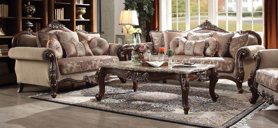 Acme 50690-91 2 pc Astoria grand nebel mehadi walnut finish wood velvet fabric sofa and love seat set