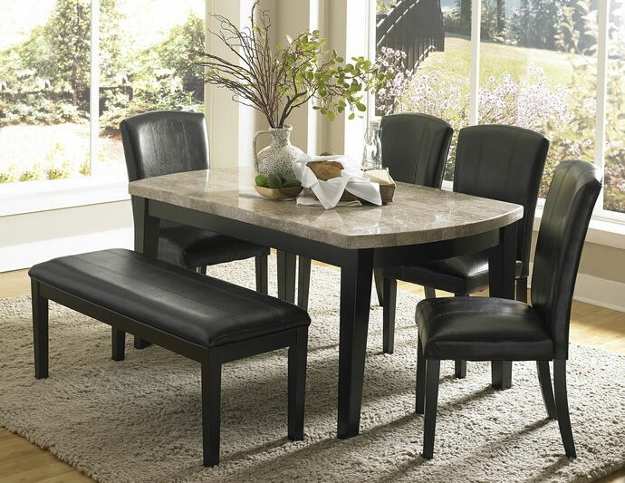 HE-5070-64-6pc 6 pc Cristo collection espresso finish wood and marble top dining table set with upholstered seats