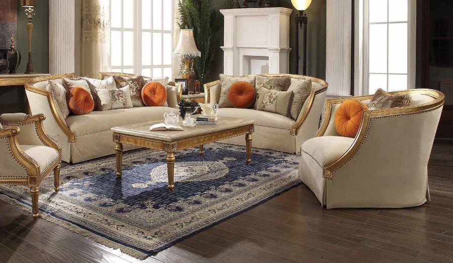 Acme 50835-36 2 pc Astoria grand neece daesha antique gold finish wood fabric sofa and love seat set