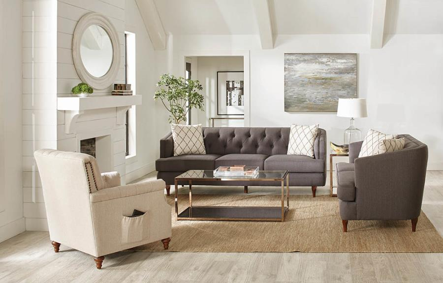 508951 2 pc Charlton home krenzke shelby grey linen like fabric sofa and love seat with tufted accents