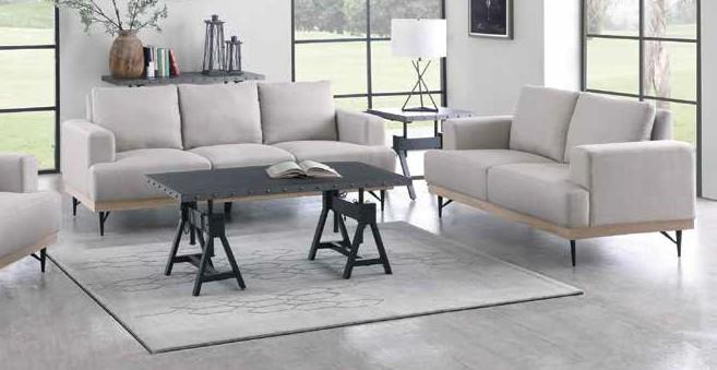 509181 2 pc Bronx ivy avianna kester beige faux linen fabric sofa and love seat set
